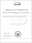 NZDSi Certificate of Incorporation